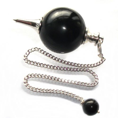 Black Onyx Ball Pendulum Crystal Dowser